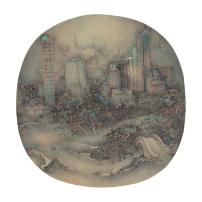 New York Central Park Xu Jianguo 2017   Diametre 38 cm   Chinese ink & colour on silk
