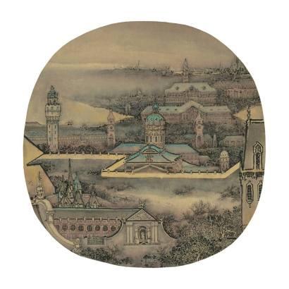 Prague Xu Jianguo 2017   Diametre 38 cm   Chinese ink & colour on silk