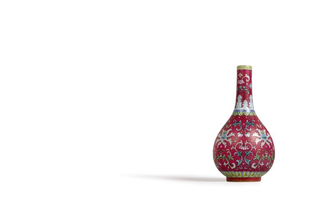 8. HK0791 - An Exceptionally Fine And Rare Ruby-Ground Yangcai Vase.jpg