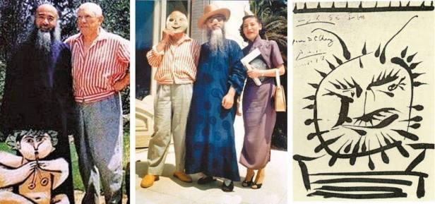 兩人戴上面具合照,證明當天兩人相處愉快。上圖右方,畢卡索似用軟毛筆替張大千速寫,上款寫D,C. Chang.。