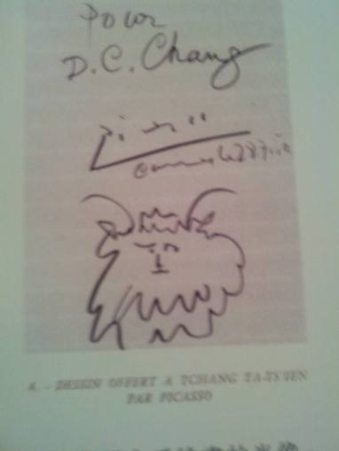 畢卡索好興致,給張大千另一張速寫,用非軟毛筆,上款題大千名字D. C. Chang。