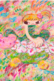 六角彩子,《無題(ARP18-018)》,2018, 壓克力 畫布,150 x 100 cm;圖片由藝術家及Phillips提供 Ayako Rokkaku, Untitled (ARP18-018), 2018, Acrylic on canvas, 150 x 100 cm; Courtesy to the artist and Phillips