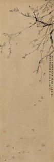 金農 《落梅花圖》 水墨紙本 立軸 估價:80至120萬港元 Jin Nong (1687 – 1763) Plum Blossoms ink on paper, hanging scroll Estimate: HK$800,000-1,200,000 / US$102,000-153,000