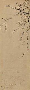 金農 《落梅花圖》 水墨紙本 立軸 估價:80至120萬港元 Jin Nong (1687 – 1763) Plum Blossoms ink on paper, hanging scroll Estimate: HK$800,000-1,200,000 / US$102,000-153,000