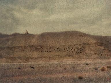 《絲路系列之敦煌》 Dunhuang Caves 1990 毛氈 油畫 Oil on Felt Paper 69 x 92 cm