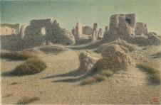 《絲路廢墟》 Ruins on the Silk Road 1990s 毛氈 油畫 Oil on Felt Paper 58.5 x 89 cm