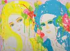 丁雄泉,《她是大麗花,我是水仙花》,1974, 壓克力 畫布,56 x 76 cm;圖片由藝術家及Phillips提供 Walasse Ting, She is Dahlia, I'm Daffodil, 1974, Acrylic on canvas, 56 x 76 cm; Courtesy to the artist and Phillips