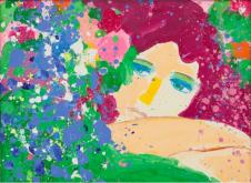 丁雄泉,《I Think of You》,1985, 壓克力 畫布,60 x 85 cm;圖片由藝術家及Phillips提供 Walasse Ting, I Think of You, 1985, Acrylic on canvas, 60 x 85 cm; Courtesy to the artist and Phillips