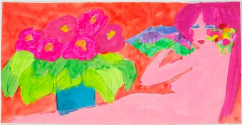 丁雄泉,《無題》,1980、1990年代末, 壓克力 米紙,100 x 180 cm;圖片由藝術家及Phillips提供 Walasse Ting, Untitled, late 1980s and 1990s, Acrylic on ricepaper, 100 x 180 cm; Courtesy to the artist and Phillips