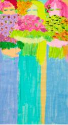丁雄泉,《無題》,1980、1990年代末, 壓克力 米紙,177 x 96.5 cm;圖片由藝術家及Phillips提供 Walasse Ting, Untitled, late 1980s and 1990s, Acrylic on ricepaper, 177 x 96.5 cm; Courtesy to the artist and Phillips