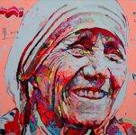 任震宇(Ren Zhen Yu) Mother Teresa 特蕾莎修女 2014, 150 x 150cm, Oil on Canvas
