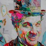 任震宇(Ren Zhen Yu) Charlie Chaplin 卓別林 2016, 150 x 150cm, Oil on Canvas