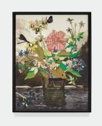 Matthew Day Jackson Bouquet in a Glass Vase (Amsterdam), 2018 Textile, silkscreen, watercolour, woodblock print, pigment print on paper Unique 91.4 x 70.5 cm © Matthew Day Jackson. Courtesy the artist and Hauser & Wirth. Photo: Martin Parsekian