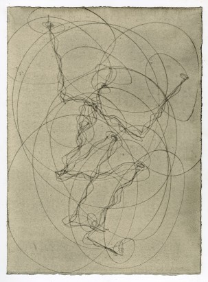 Antony Gormley FEELING MATERIAL (LIFT), 2015 Carbon and casein on paper Unique 38.5 x 27.9 cm Courtesy of the artist