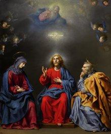 卡洛 · 多爾奇(Carlo Dolci)《聖家族與三位一體》,約1630年作,油彩銅畫板 CARLO DOLCI, Holy Family with the Trinity, circa 1630, Oil on copper