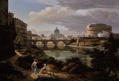 魯道夫 · 維格曼(Rudolf Wiegmann),《羅馬,南望台伯河之景觀,遠眺聖天使城堡及聖伯多祿大殿》1834年作,油彩畫布 RUDOLF WIEGMANN, Rome, A View of the River Tiber Looking South with the Castel Sant'Angelo and Saint Peter's Basilica Beyond, 1834 Oil on canvas