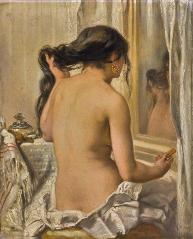 維克多 · 路易 · 莫特茲(Victor-Louis Mottez),《梳髮裸女》,1887年作,油彩畫布 VICTOR-LOUIS MOTTEZ, Nude combing her hair, 1887, Oil on canvas