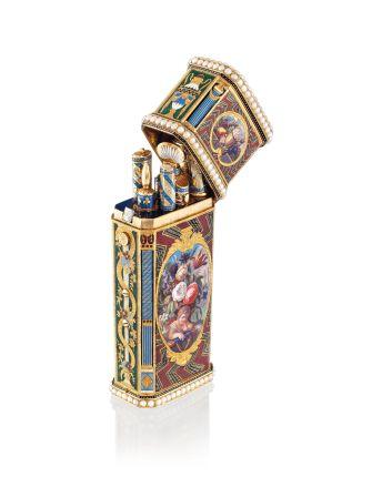 嵌有珠寶的瑞士琺瑯黃金音樂工具盒,1830,連腕錶及自動裝置;圖片由藝術家及佳士得提供 估價:港元650,000 - 850,000 A SWISS JEWELLED ENAMELLED MUSICAL GOLD NECESSAIRE SET WITH A WATCH AND AN AUTOMATON, 1830; Courtesy of the artist and Christie's Estimate: HK$650,000 - 850,000