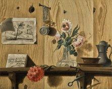 安德亞 · 烏班尼(Andrea Urbani),《錯視畫:木架上的花卉、一幅素描、剪刀、懷錶、碟盤、執壺和一封信》,約1750年作,油彩畫布 ANDREA URBANI, A trompe l'oeil with flowers, a drawing, scissors, a watch, and plates, a jug and a letter on a wooden shelf, circa 1750, Oil on canvas