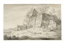 楊·凡·霍延(Jan van Goyen),《鴿子屋與鄉村景觀》,1653年作,黑色粉筆、灰色渲染、部分棕色墨水描線 JAN VAN GOYEN, Village Scene with a Dove House, 1653, Black chalk and grey wash, within partial brown ink framing lines