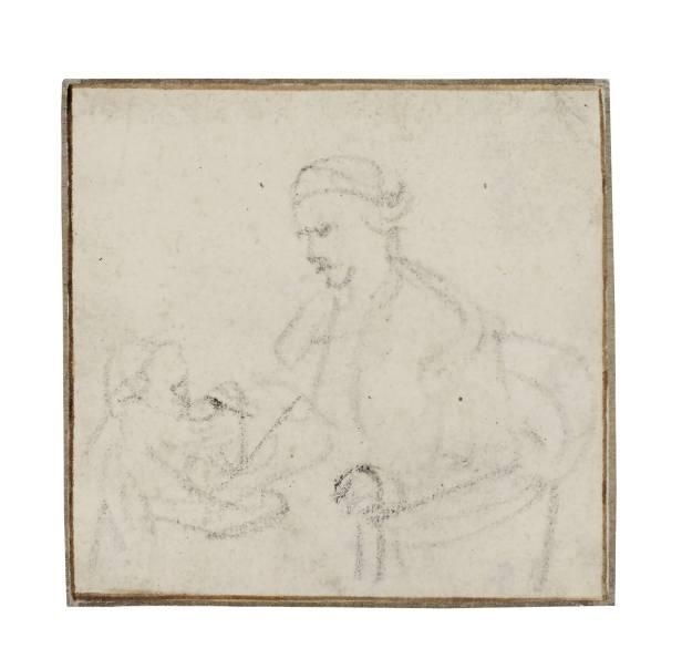 倫勃朗·哈曼茲 · 凡 · 瑞金(Rembrandt van Rijn;或譯林布蘭),《坐在高腳椅上的母子習作》,1640年代作,黑色粉筆、棕色墨水描線 REMBRANDT VAN RIJN, Study of a Seated Mother, and Child in a high chair, 1640s, Black chalk, within brown ink framing lines