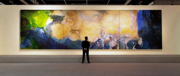 趙無極《1985年6月至10月》,油畫畫布(三聯屏),280 x 1000公分 ,1985年作 Zao Wou-Ki, Juin-Octobre 1985, oil on canvas (triptych), 280 x 1000 cm, 1985