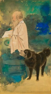 LOT 1366 張大千《張大千 自畫像與黑虎》,潑墨潑彩金箋,鏡框 Zhang Daqian, Self Portrait with a Tibetan Mastiff, splashed ink and colour on gold paper, framed Estimated: HK$ 35,000,000 - 38,000,000 Result: HK$ 49,739,000 (6,341,722 USD)