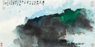 LOT 1385 張大千,《廬山鄱陽湖圖》,潑彩紙本,鏡框,一九七九年作 Zhang Daqian, Verdant Mountains Along Misty Stream, splashed colour on paper, framed, 1979 Estimiated: HK$ 3,500,000 - 5,000,000 Result: HK$ 5,520,000 (703,800 USD)