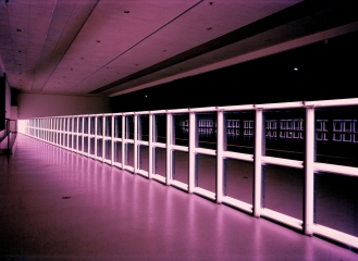 Dan Flavin, untitled, 1974, pink flourescent light, photo taken at Museum Boymans-van Beuningen Rotterdam, 1975, (c) Stephen Flavin,ARS,Courtesy Stephen Flavin and David Zwirner; Courtesy of the artist and Sinclair