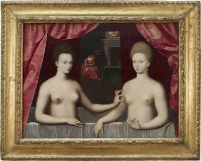 Fontainebleau school (late 16th century) Presumed Portrait of Gabrielle d'Estrees and Her Sister, the Duchess of Villars c. 1594