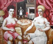 """Erika Meriaux Truth about Gabrielle d'Estree ore where are my candies oil on canvas 36"""" x 48"""""""
