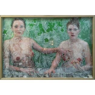 Guacolda Gabrielle d'Estree (2015) Cire et broderie sur photo encadree 63 x 93 cm Oeuvre unique