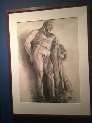 徐悲鴻,石膏大力神赫拉克勒斯,紙本素描,62.2x46厘米,1920
