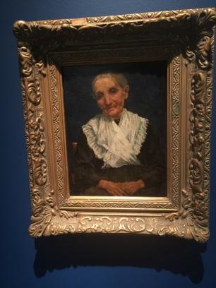 徐悲鴻,老婦像,布面油彩,34x26厘米,1922;該畫入選法國1923年國家美術展