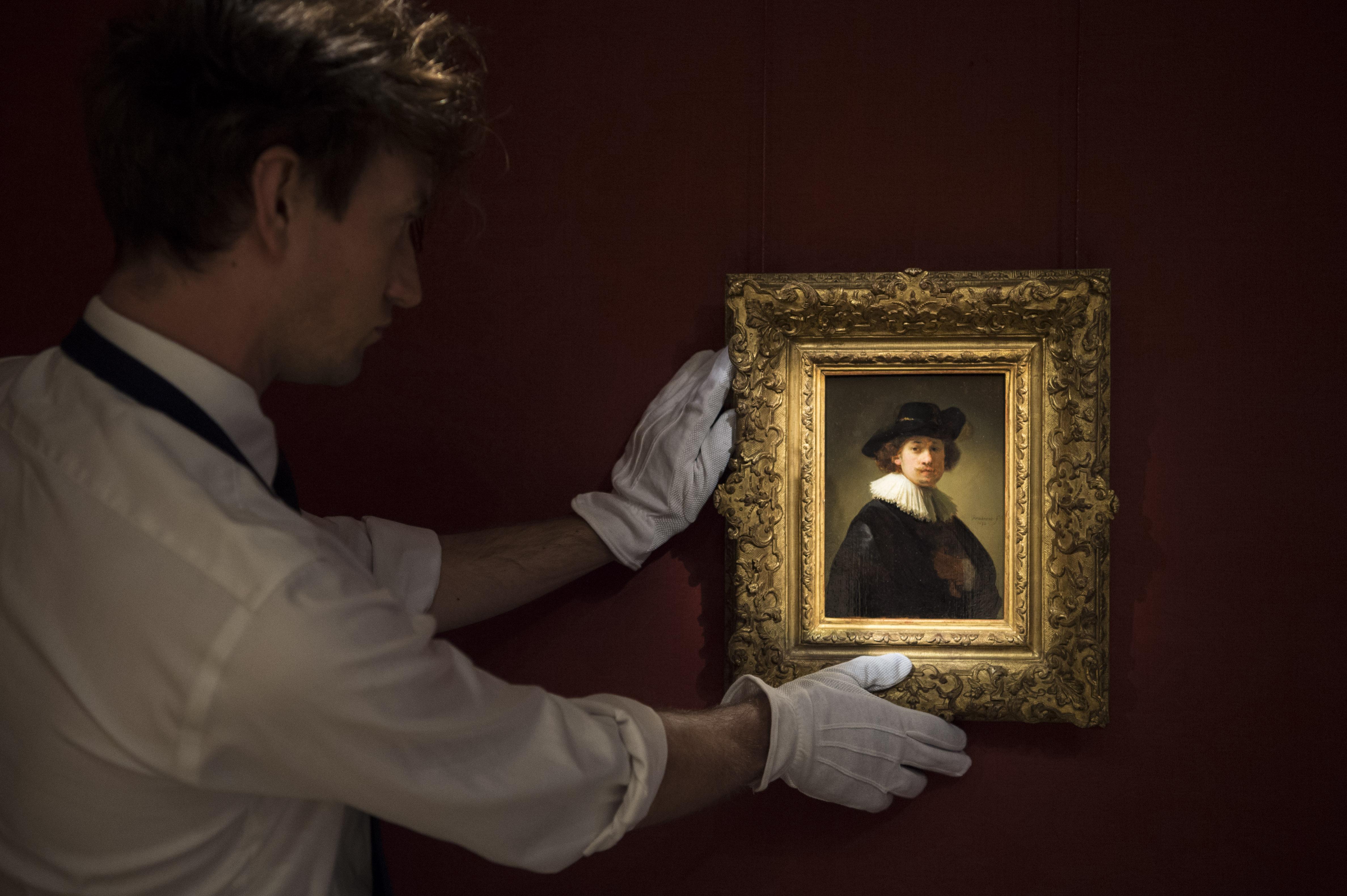 Rembrandt Van Rijn, Self-portrait, wearing a ruff and black hat, 1632, est £12-16 million ($15-20 million) -Photographer Antony Jones (2)