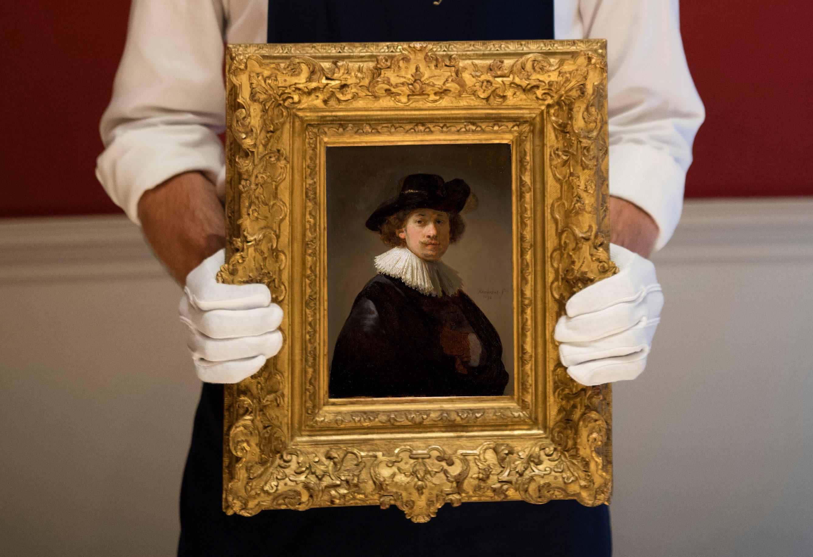 Rembrandt Van Rijn, Self-portrait, wearing a ruff and black hat, 1632, est £12-16 million ($15-20 million) -Photographer Antony Jones (3)