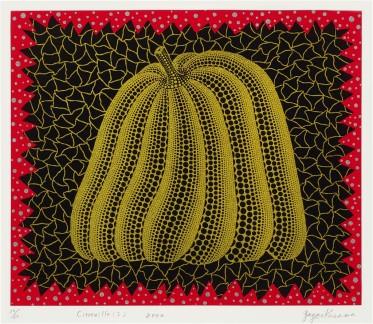 南瓜(I)Citrouille (I) 草間彌生,2000年作,絲網印刷亮粉紙本,圖像:38 x 45.5 cm,紙張:50 x 65 cm YAYOI KUSAMA, Executed in 2000, screenprint and lamé, image: 38 by 45.5 cm. , sheet: 50 by 65 cm Courtesy to Sotheby's