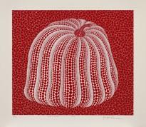 紅色南瓜 Red Coloured Pumpkin 草間彌生,1994年作,絲網印刷紙本,45.5 x 52.5 cm Yayoi Kusama, 1994, screenprint, 45.5 by 52.5 cm Courtesy to Sotheby's