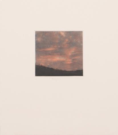 Afterglow 張梓祈 凹版畫:美柔汀、飛塵 21 x 23.5 cm Afterglow Cheung Tsz-ki Intaglio: Mezzotint, Aquatint 21 x 23.5 cm